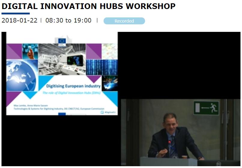 Digital Innovation Hubs 1° incontro del Gruppo di lavoro 22 gennaio 2018