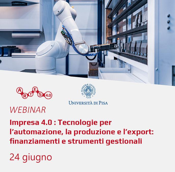 "ARTES 4.0 Webinar: ""Enterprise 4.0 – Technologies for automation, production and export"""